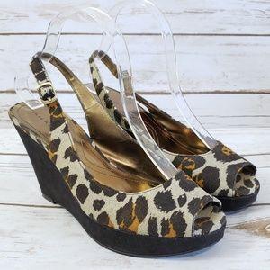 Tahari Animal Print Wedge Sandal